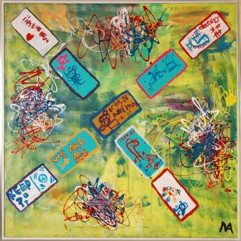150x150 cm, Acryl auf Leinwand. Mindestpreis 11.650,00 Euro