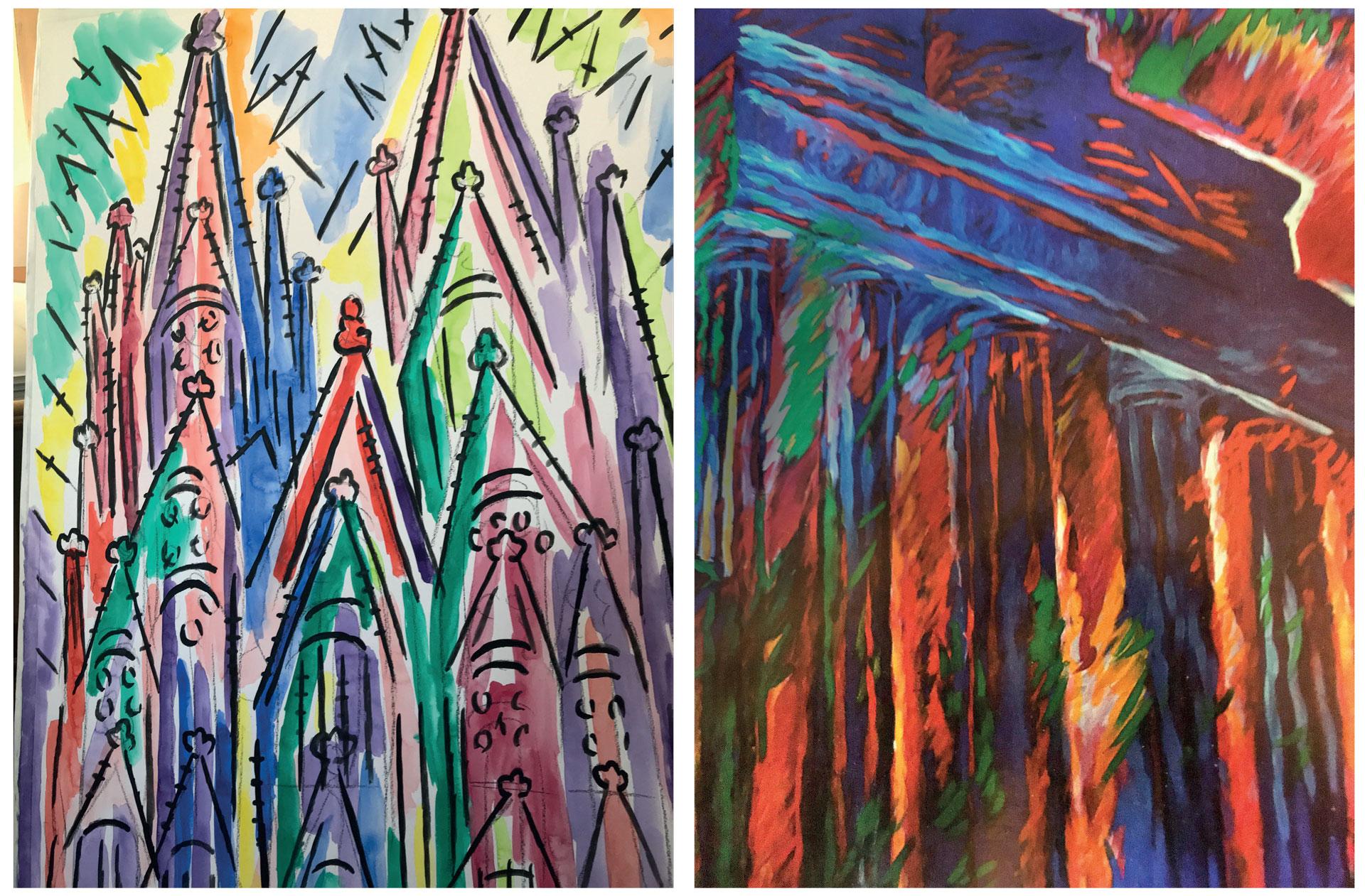 Diese Gemälde von Rolf Lukaschewski zeigen den Kölner Dom und das Brandenburger Tor